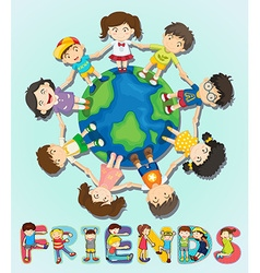 Boys and girls standing around the world vector image vector image