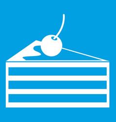 Cake with cherries icon white vector