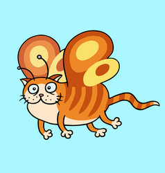 cartoon fairy orange cat flight vector image vector image