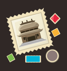 Chinese architecture picture to remember of travel vector