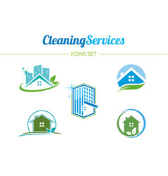 cleaning services icons set vector image vector image