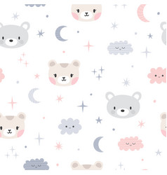 Cute seamless pattern for kids with cartoon vector