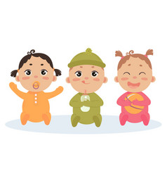Cute set of triplets babies baby girl boy vector