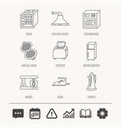 Dishwasher refrigerator and blender icons vector