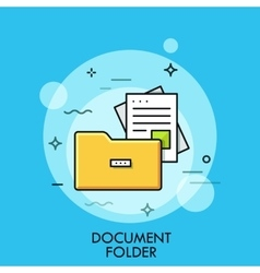 Document folder flat design thin line banner vector