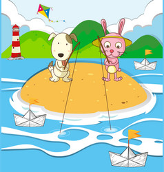Dog and rabbit fishing on island vector