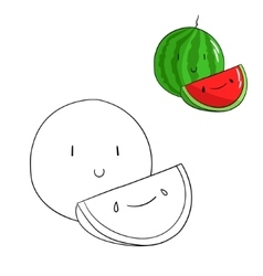 Educational game coloring book watermelon fruit vector