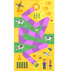 flat style of kids farm board game template vector image vector image