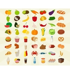 Food icons set fruits and vegetables icons fast vector