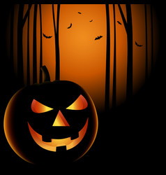 halloween night with grinning pumpkin background vector image