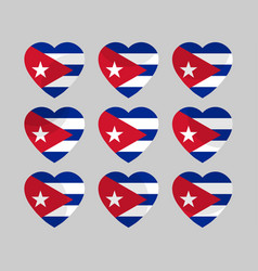 heart with the flag of cuba vector image