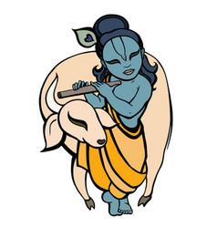 Hindu god krishna vector
