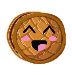 Kawaii cute happy waffles with honey vector