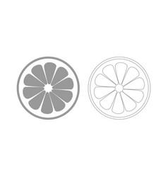 Lemon slice the grey set icon vector