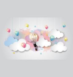 Light bulb balloon on watercolor sky idea concept vector