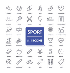 line icons set sport pack vector image