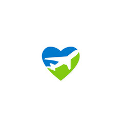 love travel airplane logo vector image