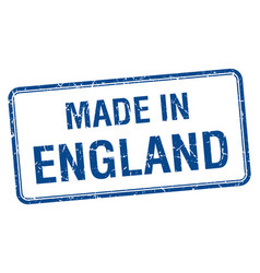 Made in england blue square isolated stamp vector