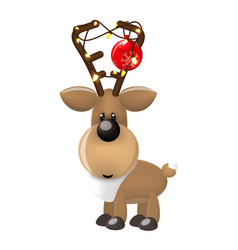 new year deer or fawn with christmas balls and vector image