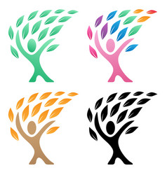 person life tree logo group vector image