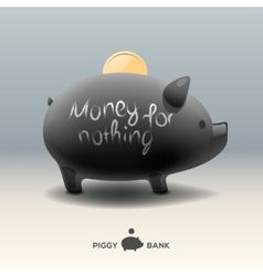 Piggy moneybox with coin - money for nothing vector
