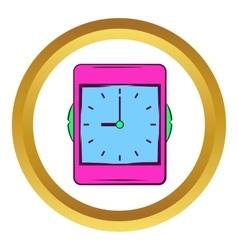 Pink alarm clock icon cartoon style vector