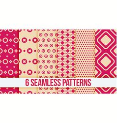 Six pink seamless geometric patterns vector
