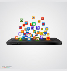 smartphone with cloud of application icons vector image