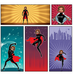 super heroine banners 5 vector image vector image