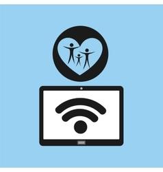 Tablet mobile app family heart vector