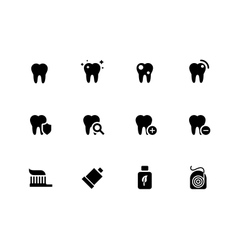 Tooth teeth icons on white background vector image