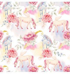 Watercolor unicorn and pegasus pattern vector