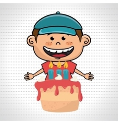 Boy cake candles dessert vector