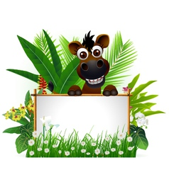 Funny brown horse with blank sign vector
