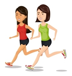 group girl running jogging sport design isolated vector image