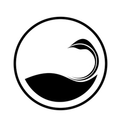 Simple swan logo in a circle vector