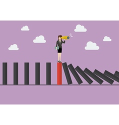 Business woman search in business strategy on red vector