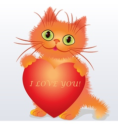 a funny kitten holding a heart vector image