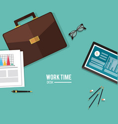 Work time design office icon colorful vector