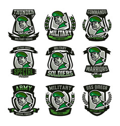 A collection of emblems logos military man vector