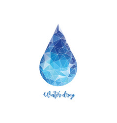 polygonal water drop low poly style vector image