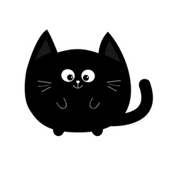 Round shape black cat icon cute funny cartoon vector