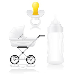 Set icons perambulator bottle and pacifier vector