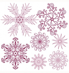 Set dark lilas snowflakes vector