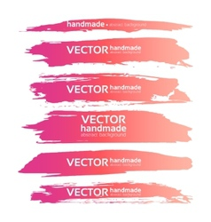 Abstract realistic smears pink gouache paint set vector image