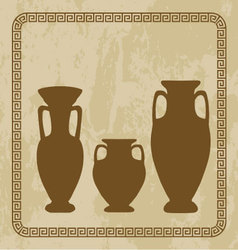 Antique vases on grunge backgroun vector