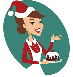 Woman holding christmas pud vector