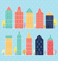 Home sweet home amsterdam in snow pastel color vector