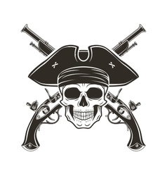 Jolly roger skull in cocked hat  evil vector