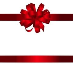 Gift card with red bow and ribbon vector